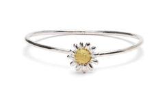Daisy silver & 18ct gold bangle