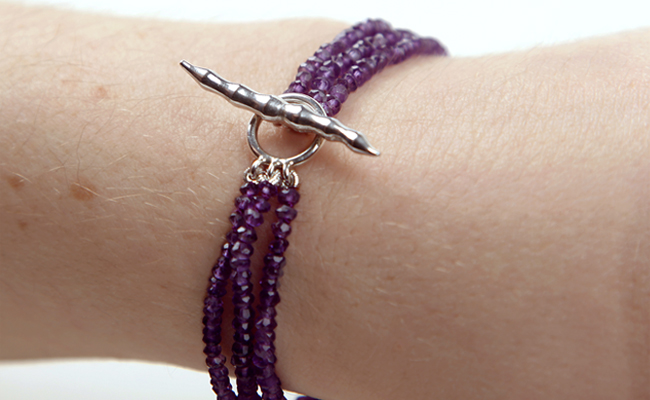 Amethyst and silver bamboo bracelet