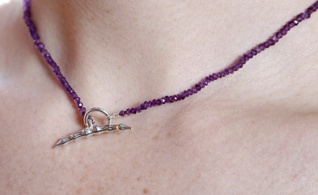 Amethyst Bamboo Necklace Silver