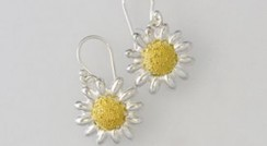 Daisy large silver & 18ct gold drops