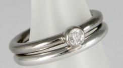 Husk White Gold with Diamond & Vortex plain band
