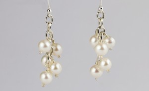 Large Pearl drop earrings on silver chain