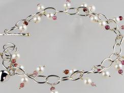 Pink Tourmaline & Big Pearl Bracelet