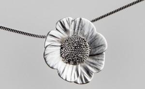 Silver Poppy pendant