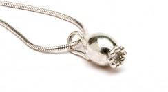 Rosehip lg silver pendant