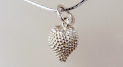 Silver Strawberry pendant on silver snake chain