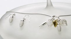 Silver and 18ct gold Fruit Cluster pendant shown with Pollen earrings
